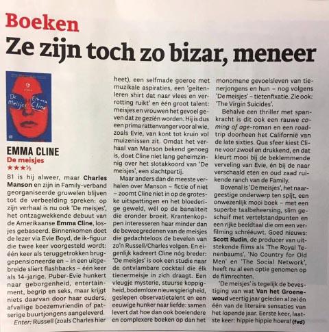 Rave reviews in Vlaamse en Nederlandse pers voor Emma Cline