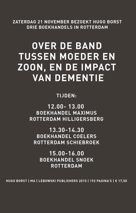 Hugo Borst - Boekhandelstour Rotterdam - 21 november - Hugo Borst