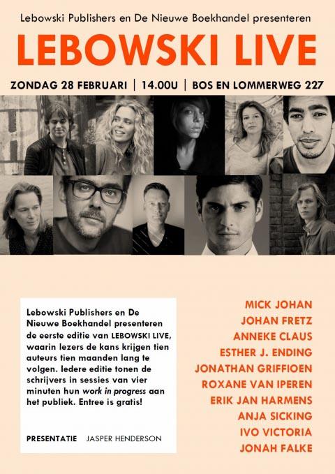 Kom naar de eerste editie van LEBOWSKI LIVE! - 28 februari in De Nieuwe Boekhandel in Amsterdam - Jonah Falke