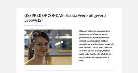 Boekblad: 'GESPREK OP ZONDAG: Saskia Veen (uitgeverij Lebowski)' over de podcast