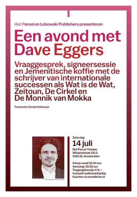 UITVERKOCHT - Lebowski en Het Parool presenteren: een avond met Dave Eggers